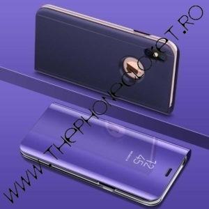 Husa flip carte cu stand 360 oglinda iPhone X XS Mov