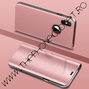 Husa flip carticica 360 grade mirror iPhone X XS Rose