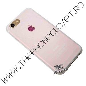 Husa iPhone 7 logo decupat si Sticker Sclipici Translucid Mov