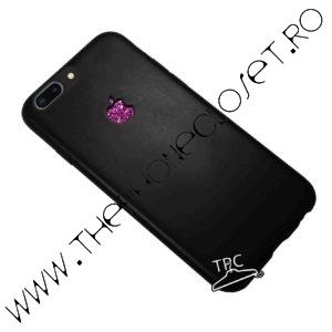 Husa iPhone 8 Plus logo decupat si Sticker Sclipici Black Mov