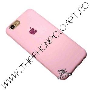 Husa iPhone 8 logo decupat si Sticker Sclipici Roz Mov