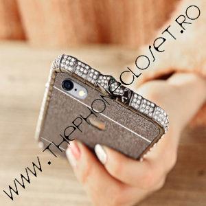 Set Bumper Cristale si Folie Glitter iPhone 6 / 6S Plus Black