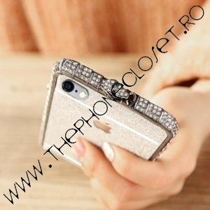 Set Bumper Cristale si Folie Glitter iPhone 6 / 6S Plus Silver
