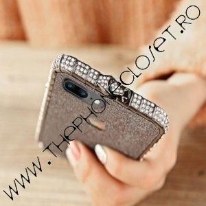 Set Bumper Cristale si Folie Glitter iPhone 8 Black