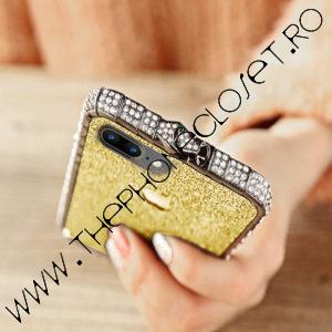 Set Bumper Cristale si Folie Sclipici iPhone 7 Gold