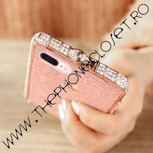 Set Bumper Cristale si Folie Sclipici iPhone 8 Plus Pink
