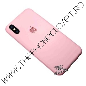 Husa iPhone XS Max logo decupat sticker glitter Roz