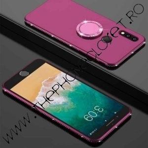 Husa Inel si Cristale Swarovski Huawei P20 Lite Mov