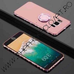 Husa Inel si Cristale Swarovski Samsung S8 Plus Rose