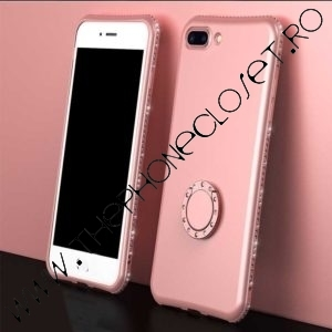 Husa Inel si Cristale Swarovski iPhone 7 / 8 Plus Rose