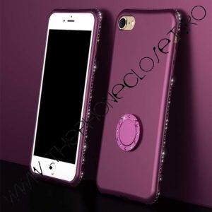 Husa cu Inel si Cristale Swarovski iPhone 7 / 8 Mov