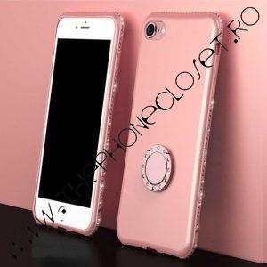 Husa cu Inel si Cristale Swarovski iPhone 7 / 8 Rose