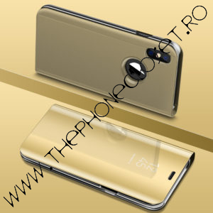 Husa flip carticica 360 mirror iPhone XS MAX Gold