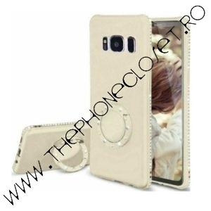 Husa cu Inel si Cristale Swarovski Samsung S8 Gold
