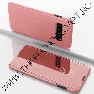 Husa flip carte Samsung Galaxy S10 Plus mirror Rose