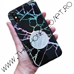 Husa cu Suport Spate marble iPhone X XS Black Holo