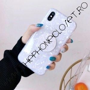 Husa cu Suport Telefon iPhone X XS Alb Perlat