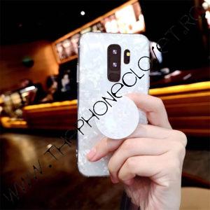 Husa cu Suport Telefon pentru Degete Samsung S9 Alb