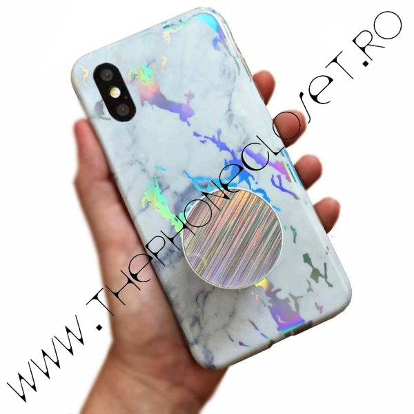 Husa cu Suport marble iPhone X XS White Holo
