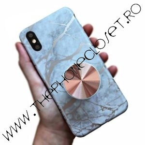 Husa cu Suport marmura iPhone X XS White Rose