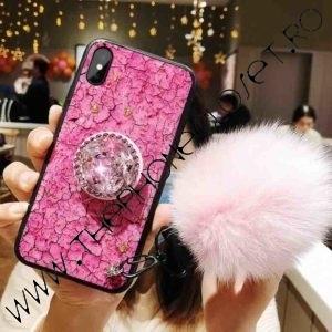 Husa iPhone X XS Suport Spate Cristale Pamponas Roz
