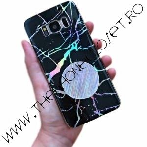Husa si Suport Samsung S8 Marmura Holografica Black