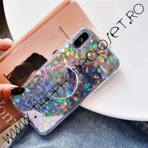 Set Husa si Suport intre Degete iPhone X XS Holografic