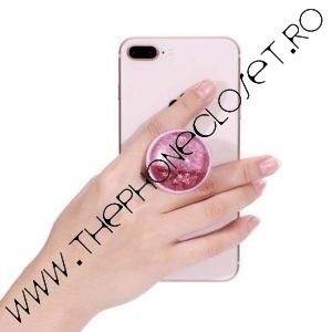 Suport de Telefon pentru Degete cu Lichid si Sclipici Glitter Roz