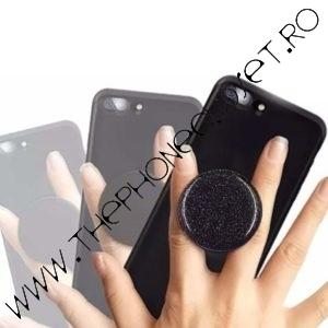 Suport de deget pentru telefon sclipici glitter Negru