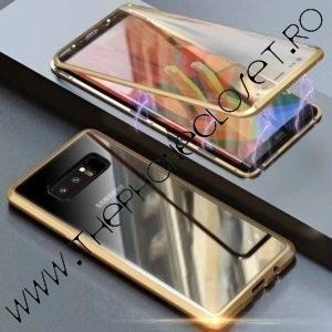 Husa 360 Magnetica Samsung S8 Plus Sticla Gold