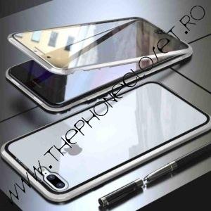 Husa 360 Magnetica iPhone 7 8 Sticla Silver