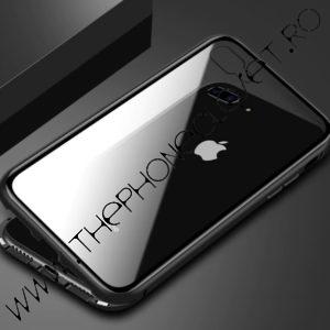 Set Husa Magnetica Bumper Aluminiu Spate Sticla si Folie Ecran Sticla iPhone 7 / 8 Plus Black