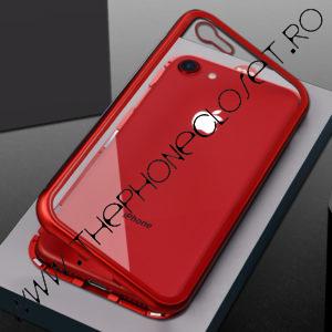 Set Husa Magnetica Bumper Aluminiu Spate Sticla si Folie Ecran Sticla iPhone 7 8 Plus Red