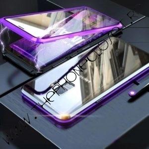 Husa Bumper Magnetic si Sticla Fata Spate Samsung S9 Plus Mov