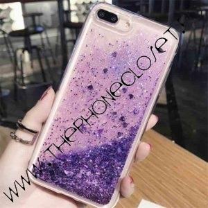 Husa cu lichid si glitter iPhone 7 8 Mov