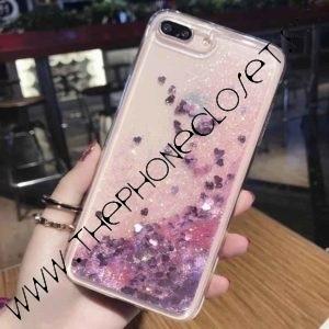 Husa cu lichid si glitter iPhone 7 8 Plus Roz