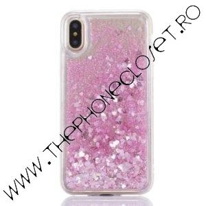 Husa cu lichid si glitter iPhone XS MAX Roz
