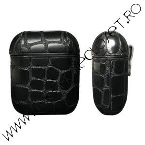 Husa de protectie pentru Airpods tip piele Croc Black
