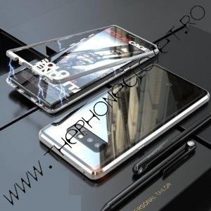 Husa 360 Magnetica Samsung S10 Plus Sticla Silver