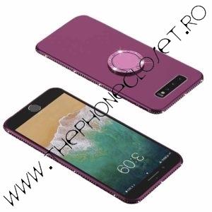 Husa cu Inel si Cristale Swarovski Samsung S10 Mov