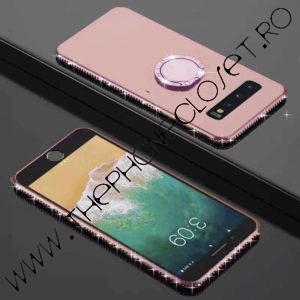 Husa cu Inel si Strasuri Samsung S10 Plus Roz