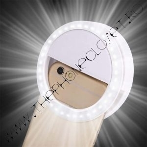 Inel Selfie Ring Light LED Alb