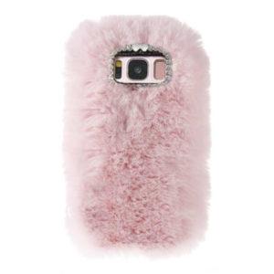 Husa Fluffy cu Blana si Puf Samsung S8 Roz