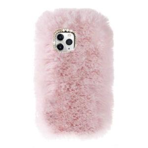 Husa Fluffy cu Blana si Puf iPhone 11 Roz