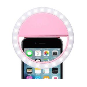 Accesoriu Telefon Inel Selfie Ring Light LED Roz