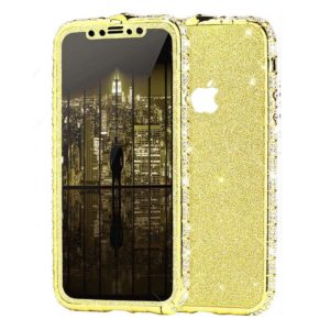 Set Bumper Cristale si Folie Sclipici iPhone 11 PRO Gold