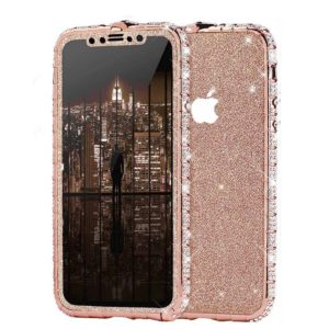 Set Bumper Cristale si Folie Sclipici iPhone 11 PRO MAX Roz