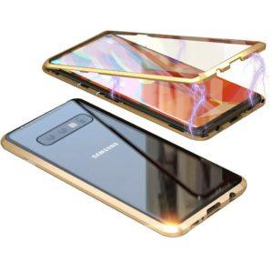 Husa 360 Magnetica Samsung S10 Plus Sticla Gold
