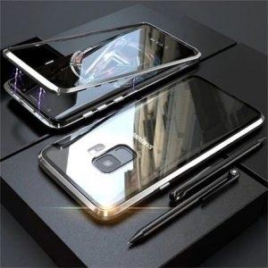 Husa 360 Magnetica Samsung Galaxy A8 PLUS (2018) Sticla Silver