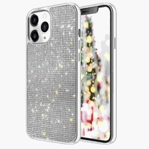 Husa cu Strasuri si Cristale iPhone 12 / 12 PRO Silver